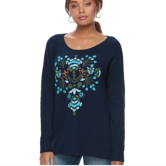 Sonoma Navy Floral Embroidered Sweater Small